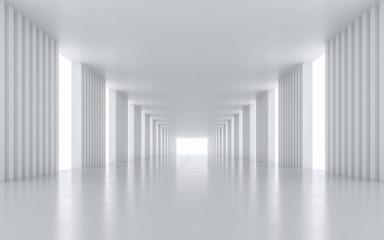 Illuminated corridor interior design. 3D rendering. Wall mural