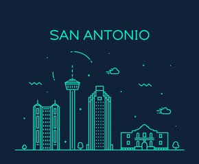 Fototapete - San Antonio city skyline Texas USA vector linear