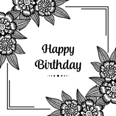 Greeting card for birthday with Floral Wreath