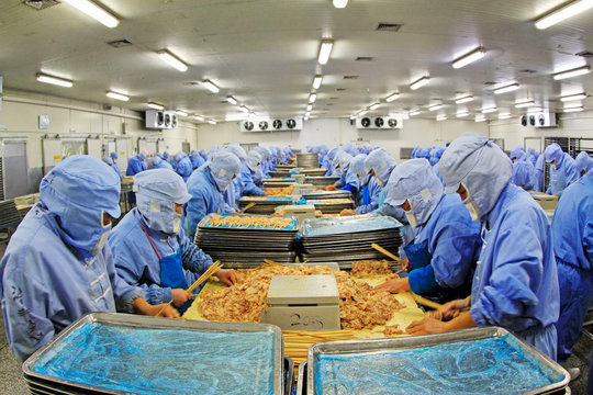 Workers in a meat processing production line, in a food processing enterprise, tangshan city, hebei province, China.