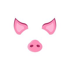 Pig carnival mask ears and piglet, piggy symbol of 2019, photobooth smartphone mask mockup photo app design