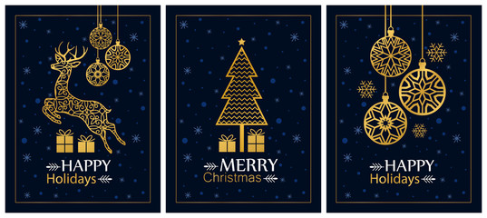 Set of holiday christmas cards. Vector image for design.