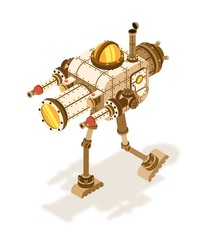 Isometric steampunk robot or fighting machine