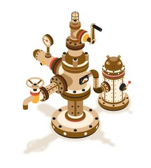 Isometric Steampunk  fantastic mechanism for supplying a fluid device