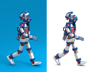 Funny humanoid multicolored robot is walking - side view.