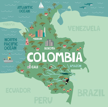Illustration map of Colombia with city, landmarks and nature. Editable vector illustration
