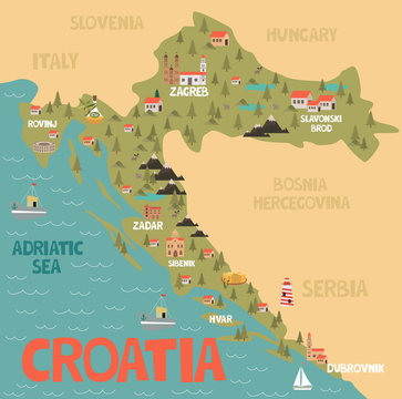 Illustration map of Croatia with city, landmarks and nature. Editable vector illustration