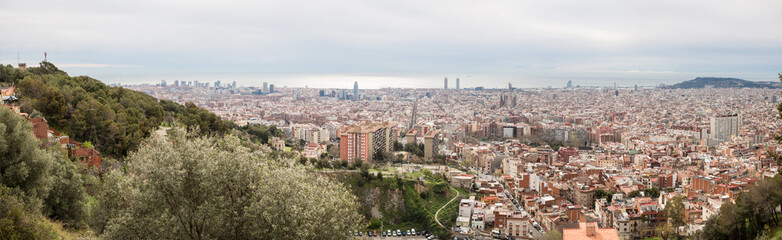 Barcelona Skyline. Top View of Picturesque Barcelona Cityscape in Cloudy Day.