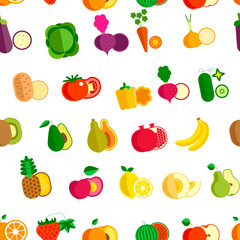 Vegetable and fruits organic food seamless pattern isolated on white vector.