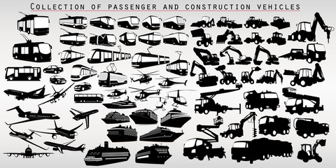A set of city transport silhouettes, airplanes and construction machines