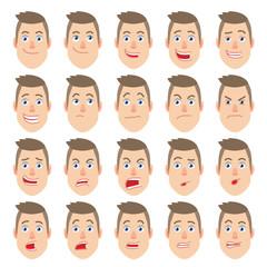 Cartoon Man. Different facial expressions