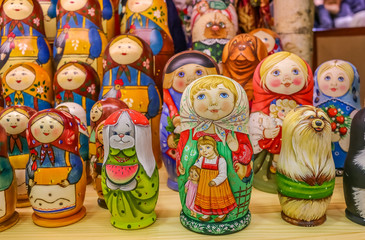 Colorful traditional Russian matryoshka nesting dolls in a souvenir shop in Saint Petersburg Russia
