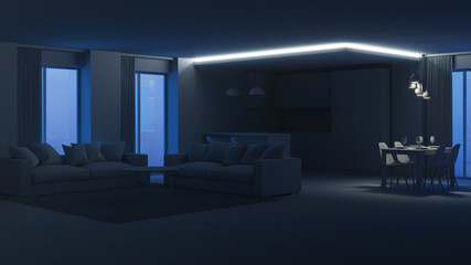 Modern house interior. Evening lighting. Night. 3D rendering.