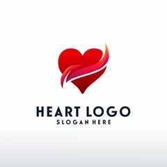 Modern Heart logo designs with swoosh logo vector, Love logo designs concept