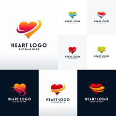 Set of Modern Heart logo designs with swoosh logo vector, Collection of Love logo designs concept
