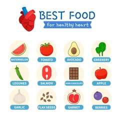 Inforraphic superfoods for healthy heart. Useful products for the heart.