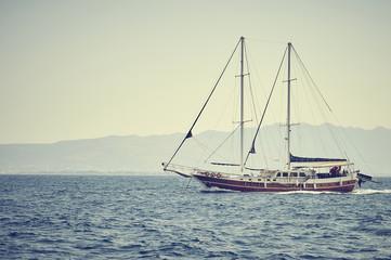travel on beautiful wooden ship in Aegean sea, Turkey
