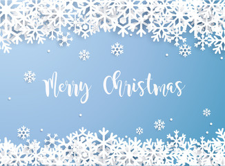 Merry Christmas. Snowflake winter of white isolated on blue background. Can be used for decoration, banners and card.
