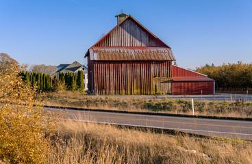 Old barn on a roadside Oregon.
