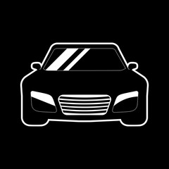 Car icon vector on black background