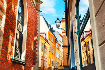 Beautiful street with colorful buildings in Old Town, Stockholm, Sweden