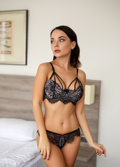 Perfect woman in a sexy black lingerie