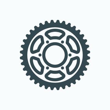 Motorcycle sprocket icon, bike sprocket vector icon