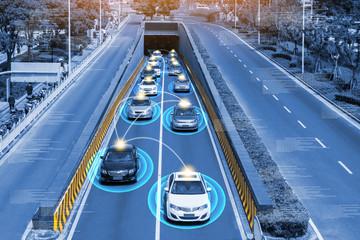 Smart car (HUD) , Autonomous self-driving mode vehicle on metro city road iot concept with graphic sensor radar signal system and internet sensor connect.