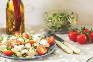 Healthy delicious tasty salad with fresh vegetables