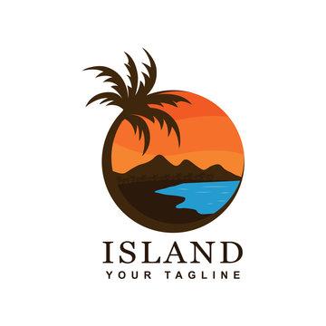 beach and island logo design