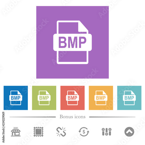BMP file format flat white icons in square backgrounds