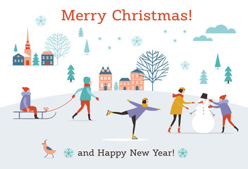 Christmas banner, Winter scene, New Year Greeting card, flat vector illustrations