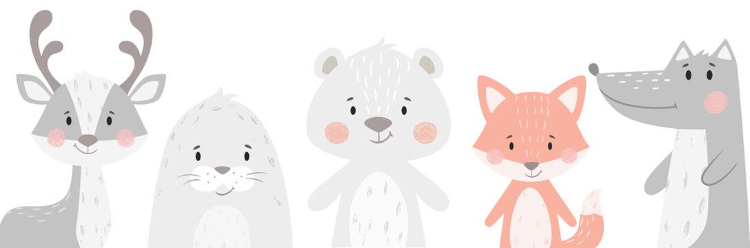 Reindeer, raccoon, seal, wolf, penguin, bear, fox baby winter set. Cute animal illustration