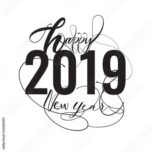 font black happy 2019 new year holiday vector illustration with lettering composition and burst