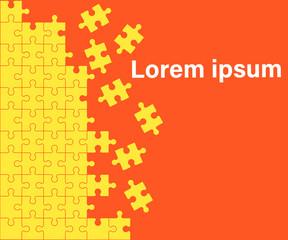 orange Background Puzzle. Jigsaw Puzzle Banner.