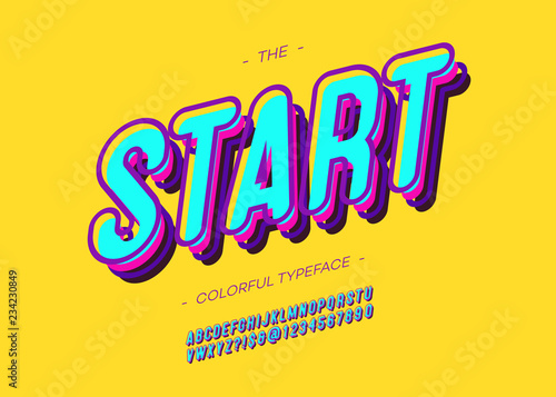 Vector bold start font trendy typography for decoration, logo, party