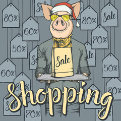 Vector illustration of pig on Black Friday