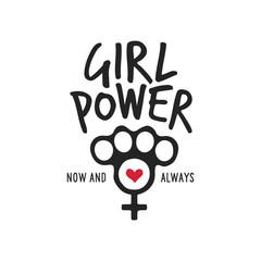 Girl power t-shirt design with feminine symbol. Vector vintage illustration.