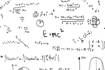 Math equations hand write scientific formulas and calculations in physics and mathematics on white paper isolated on white background