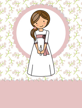 my first communion girl. Little girl in a communion dress, a candle and flower background