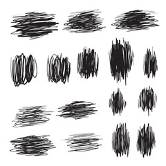 Scribble brush strokes set, vector logo sign design icon