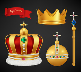 Royal crowns. Luxury premium medieval gold symbols of monarchy scepter antique diadem diamonds and jewels vector realistic pictures. Royal medieval golden crown, monarchy authority symbol illustration