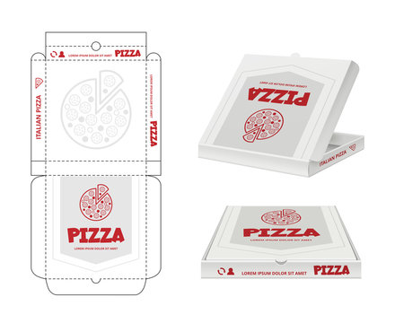 Pizza box design. Unwrap fastfood pizza package realistic template business identity vector. Pizza box, package brand restaurant illustration
