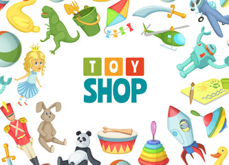Vector cartoon children toys background with place for text illustration. Toy child for play and game, kids shop banner