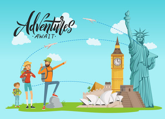 Vector concept illustration with world sights and happy family painting on them with lettering and clouds. Family travel and vacation trip