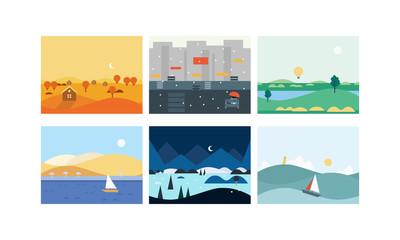 Natural landscape set, beautiful scenes of nature, winter, spring, summer, autumn horizontal nature backgrounds vector Illustration