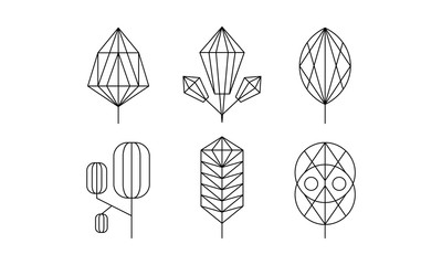Geometrical trees and leaves set, monochrome polygonal plants vector Illustration on a white background