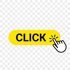 Click web button template. Vector yellow bar, hand finger click here cursor