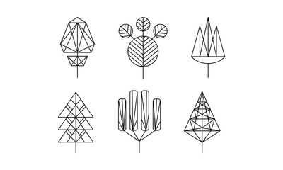 Geometrical trees set, monochrome polygonal plants vector Illustration on a white background