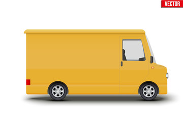 Original vintage postal yellow van. Cargo and delivery retro minibus transportation. Editable Vector illustration Isolated on white background.